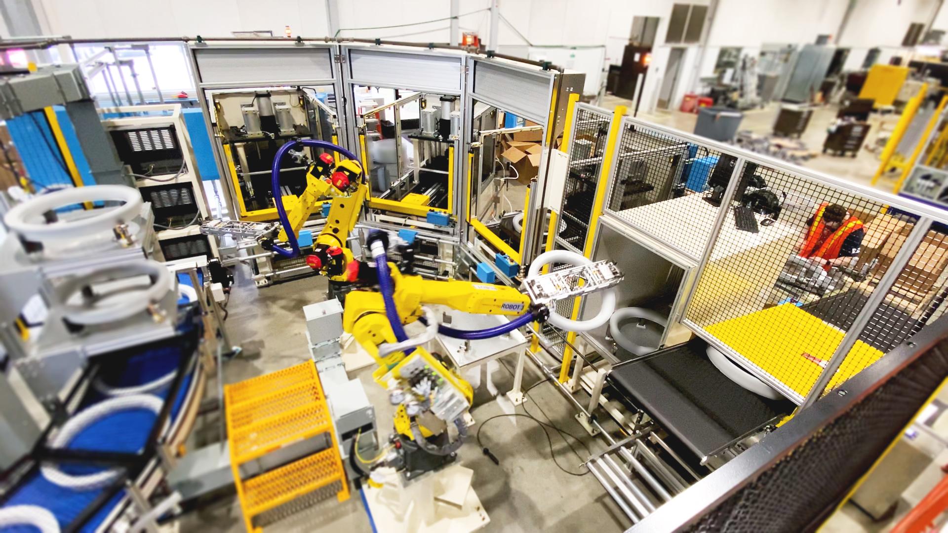Custom automation machine with robots